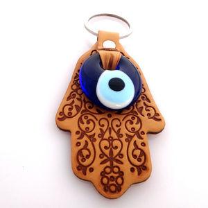 Accessories - Evil Eye Hamsa Hand key chain - Light Brown